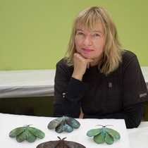 Elizabeth Thomson with bronze moths (1990) from The Dowse Art Museum collection. Photograph by Tom Hoyle.