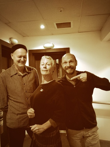 Warwick Freeman, Kim Hill, Karl Fritsch and the horse's tooth brooch at the National Radio studios