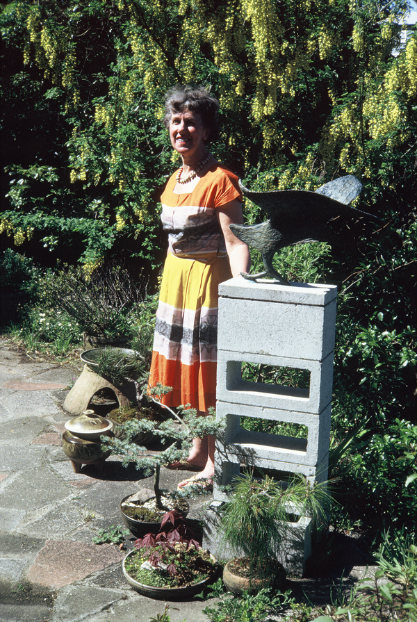 Dame Doreen Blumhardt in her garden with her pots