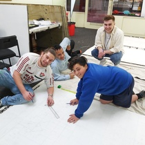 Working on new art installation in Naenae. Left to Right - Chevron Hassett (Artist), Liam Joseph (Naenae Clubhouse), Te Wainahu Paul (Naenae Clubhouse), Ryan Poole (Naenae Clubhouse)