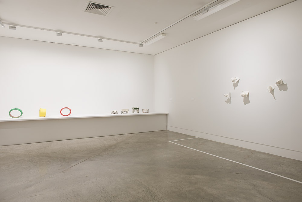 Installation view featuring work by John Paxie, Isobel Thom and Tony Bond. Photographer John Lake