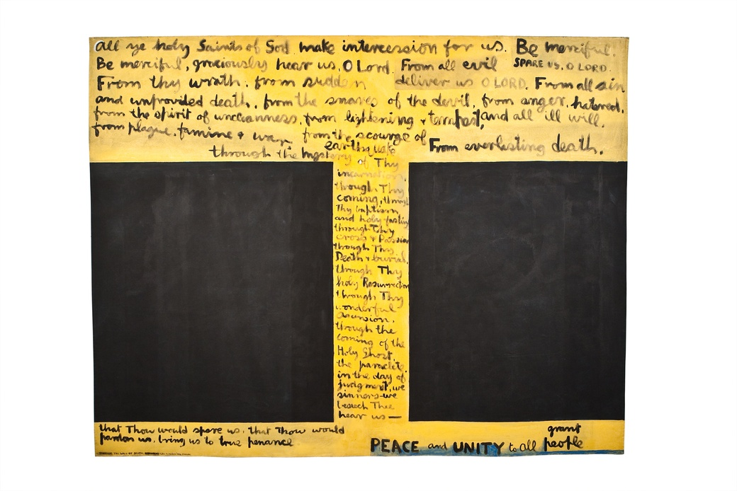 Colin McCahon, Through The Wall Of Death: A Banner, 1972. Collection of The Dowse Art Museum, purchased 1977 with assistance from the Queen Elizabeth II Arts Council of New Zealand.  Reproduced courtesy of the Colin McCahon Research and Publication Trust.