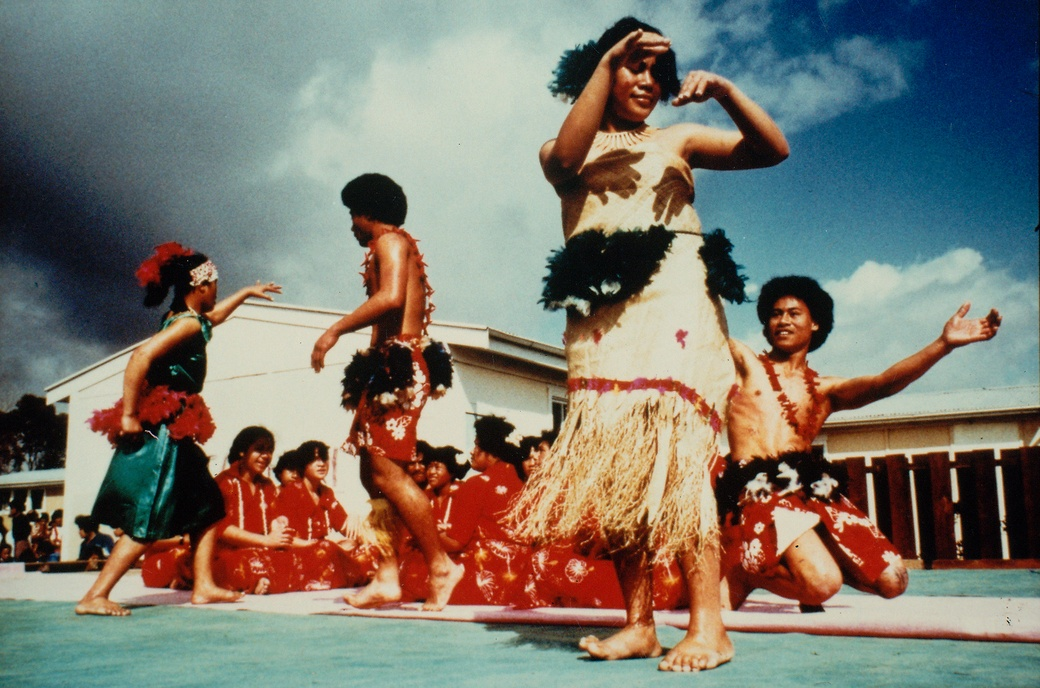 Glenn Jowitt , Auckland Secondary Schools' Maori And Pacific Islanders' Dance Festival, Hillary College, Otara, Auckland, 1981. Colour cibachrome print. Collection of The Dowse Art Museum, purchased 1984, J.W.T. Adams Bequest.  Image courtesy of the Glenn