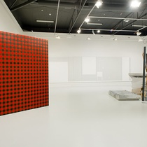 Installation view of SPACES, featuring work by Andrew Barber and Fiona Connor