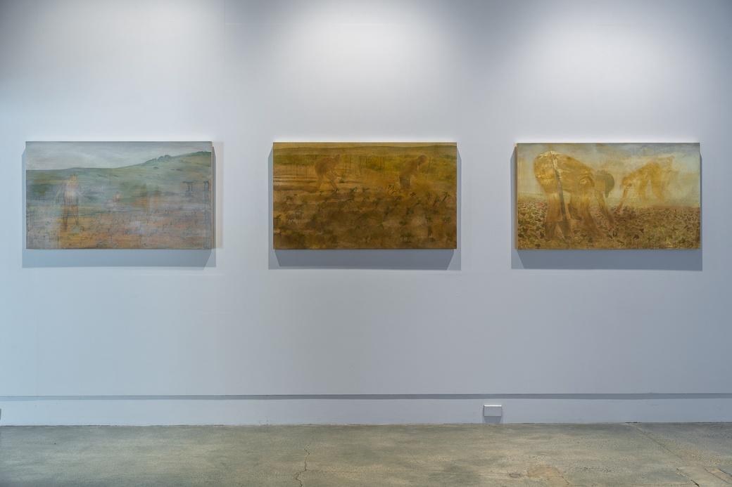 Aroha Gossage, paintings, 2020 (install view) at The Dowse 2020. Photo by Ted Whitaker.