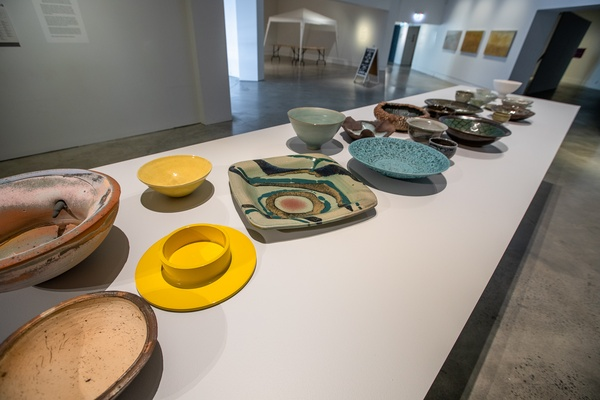 Ceramics from The Dowse Collection (including some by Dame Doreen Blumhardt), From the Ground Up (install view). At The Dowse, 2020. Photo by Ted Whitaker