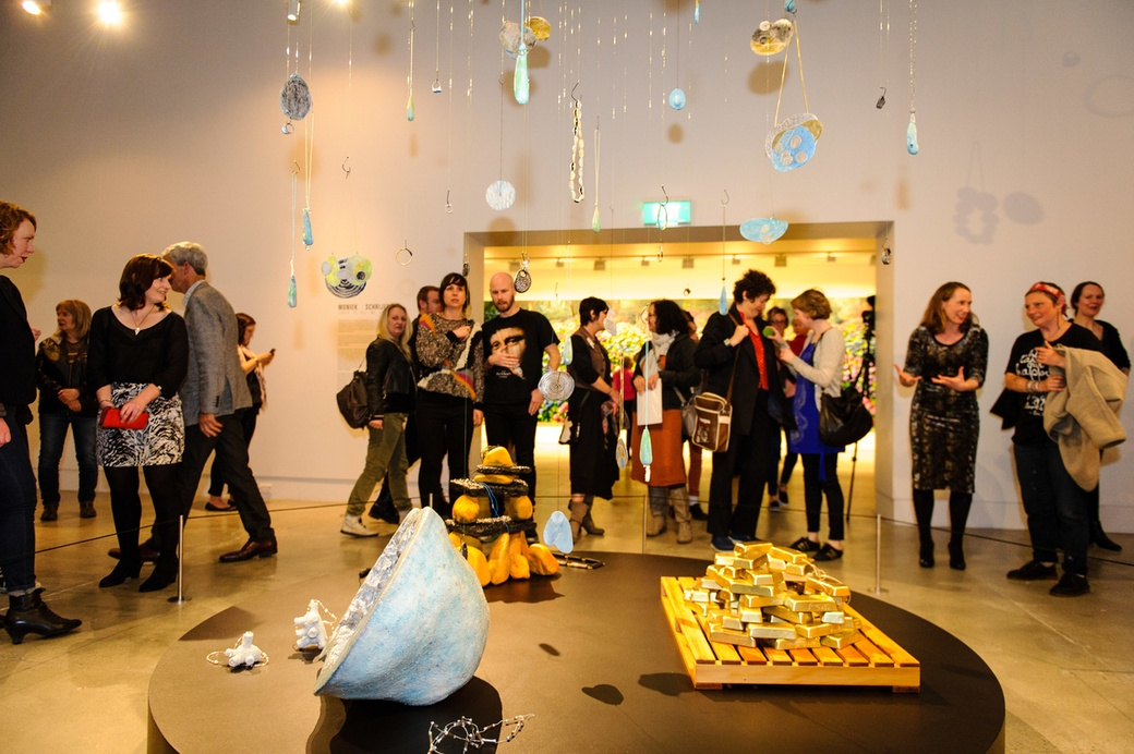 Visitors at the opening of Solo, with Moniek Schrijer's 'Earth is all we know', 2014. Photograph: Mark Tantrum