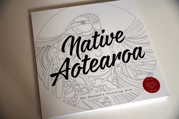 Cover of Native Aotearoa, a colouring book featuring the work of Shane Hansen and other artists. $49