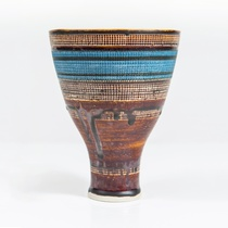 Lucie Rie, Porcelain vase with sgraffito decoration, c. 1950s. Collection of The Dowse Art Museum, gift of Olga & Hans Frankl and the Rose Family, 1997.