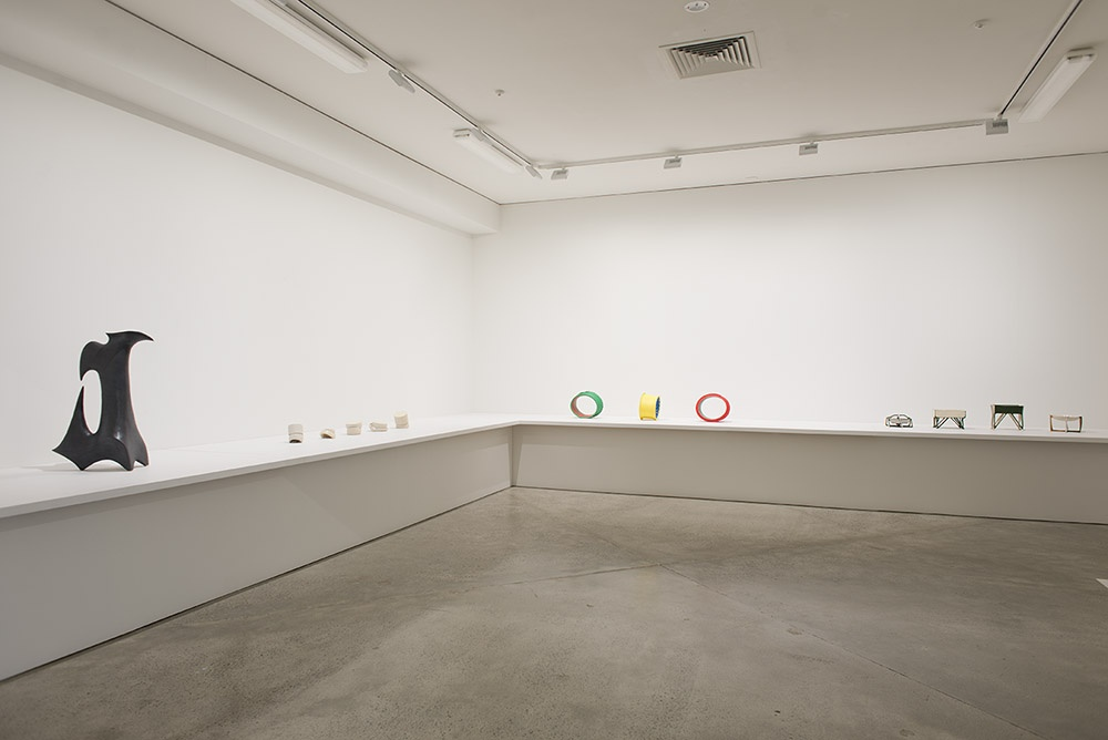 Installation view featuring work by Robert Rapson, Lauren Winstone, John Paxie and Isobel Thom. Photographer John Lake