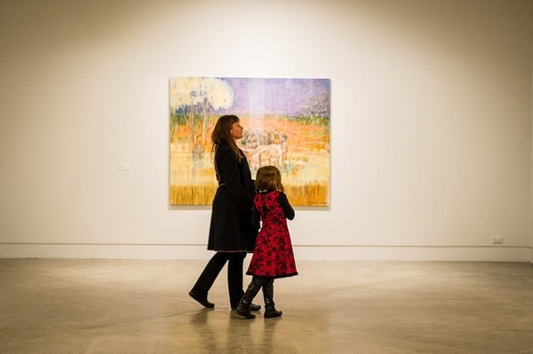 Visitors to the opening: Group Hug (2015) in the background. Courtesy the artist and Hamish McKay Gallery. Photographer: Mark Tantrum