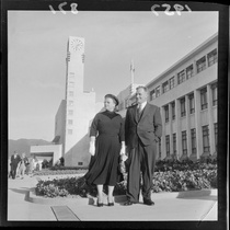 Mayor of Lower Hutt Mr Dowse and wife Mary outside the new Civic buildings, Lower Hutt