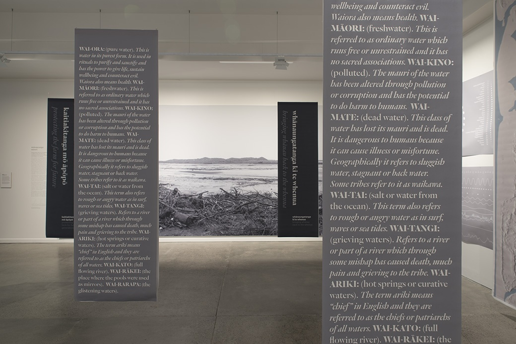 Kei Uta, Whakatairangitia rere ki uta, rere ki tai, 2015-2017. INSTALLATION VIEW. COURTESY OF THE DOWSE ART MUSEUM. PHOTO: JOHN LAKE
