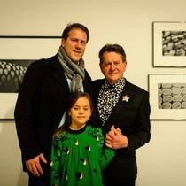 Peter with his son Clovis and grand-daughter Rita at the opening of Peter Peryer: A Careful Eye. 23rd November 2014.