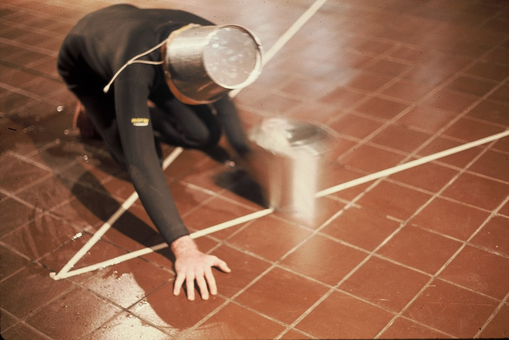 Bruce Barber, Bucket Action, documentation of a performance at Auckland City Art Gallery in 1973.