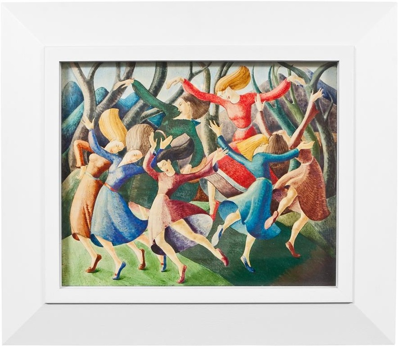 Lois White, Allegro (Dancers), c1948. Collection of The Dowse Art Museum, gifted by the Friends of The Dowse in remembrance of the Friends Foundation President Mary Mackenzie, 1978