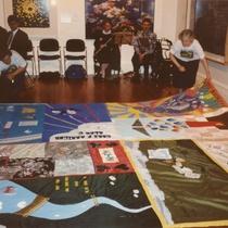 Inaugural Unfolding of the New Zealand AIDS Memorial Quilt, Auckland Art Gallery, Auckland, 5 October 1991, photographer unknown