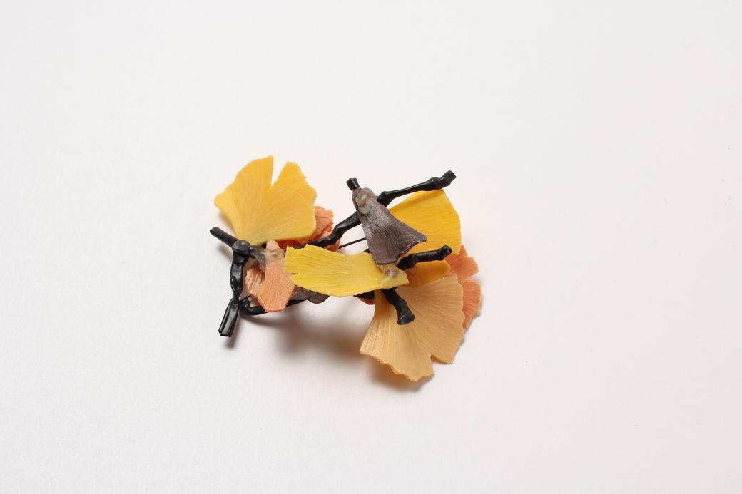 Ross Malcom, Yellow Brooch, 2013. Found plastic, nylon, rubber, resin, stainless steel
