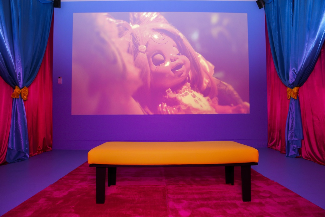 Rachel Maclean, Feed Me, 2015, in Candy Coated, 2021, at The Dowse (install view).