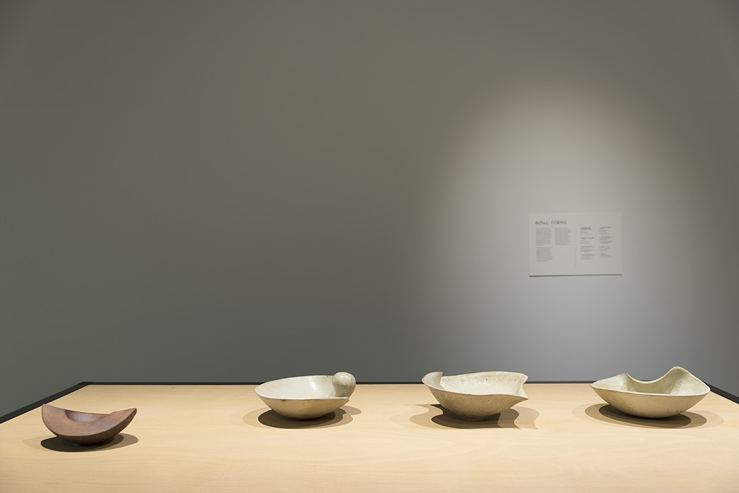 James Greig: Defying Gravity, Bowl Forms c1961-74, installation View. Courtesy of The Dowse Art Museum. Photo John Lake