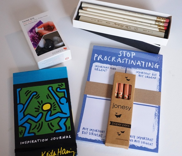 Assorted stationery. $24 for Keith Haring notebook, $8 for giant push pins, $25 for pencils in box, $15 for procrastination notepad, $12 for paper pens
