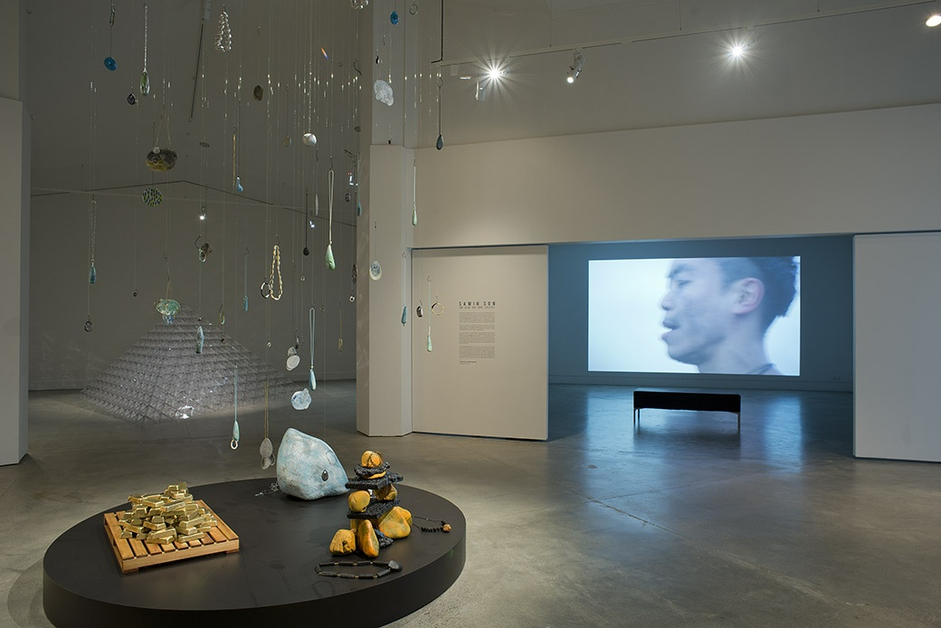 Installation view with work by Moniek Schrijer in the foreground and Peter Trevelyan to the side. Photograph: John Lake