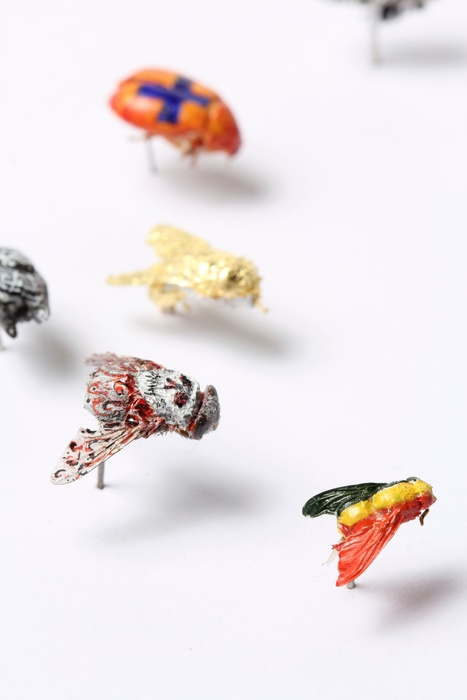Peter Madden, Flies, 2005. Flies, geeso, paint, 24ct gold leaf, silver leaf, copper leaf, resin, varnish