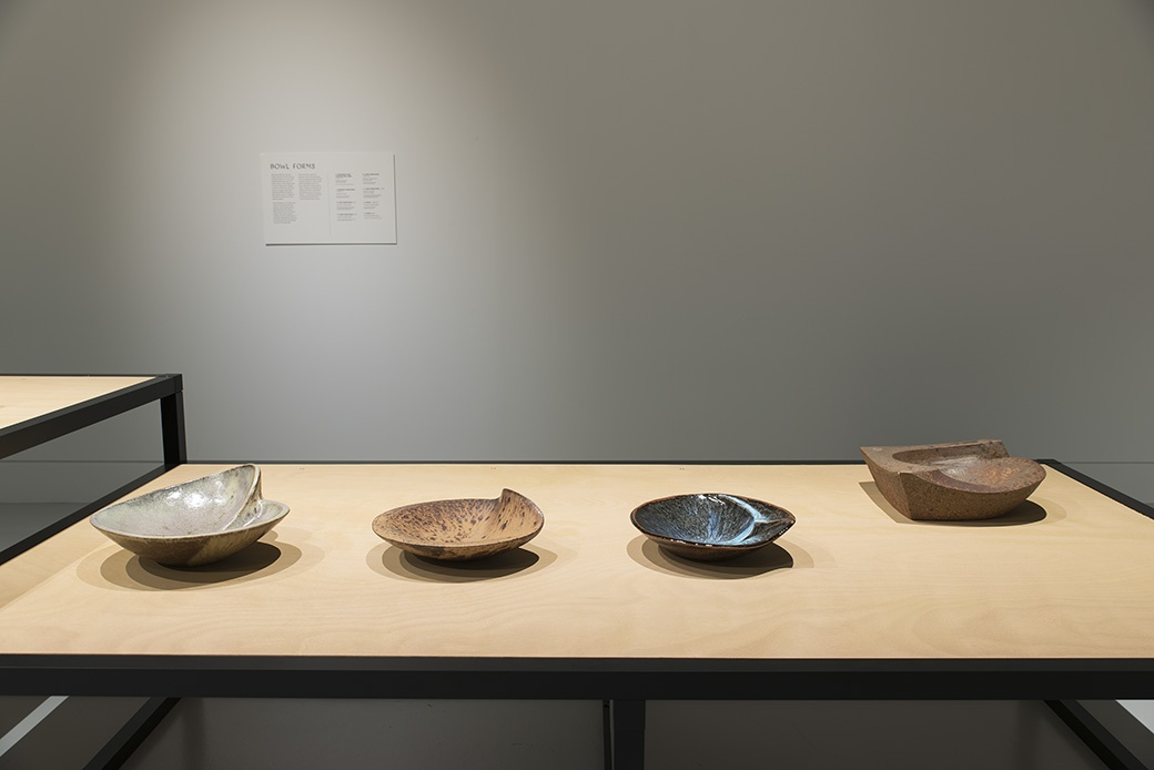 James Greig: Defying Gravity, Bowl Forms c1973-1984, installation View. Courtesy of The Dowse Art Museum. Photo John Lake
