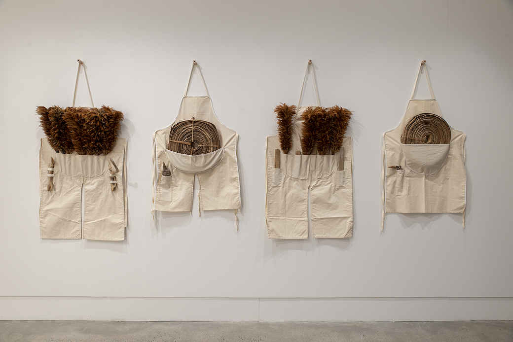 Christine Hellyar, Pacific tool Aprons, 1983. Collection of The Dowse Art Museum. Installation View. Photographer John Lake.