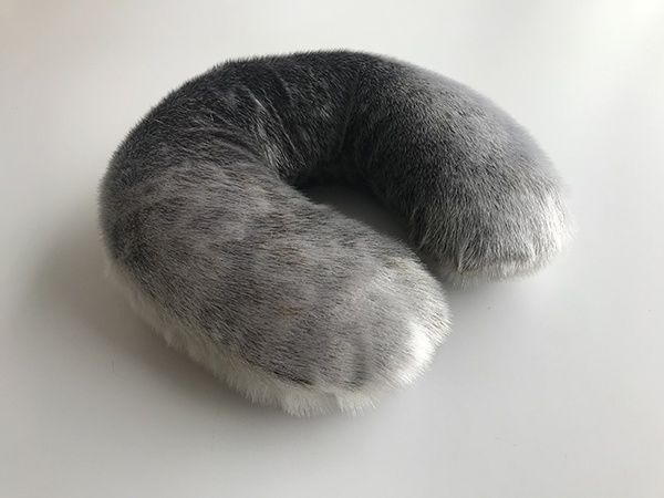 Mark Igloliorte, Seal Skin Neck Pillow, 2019. Seal Skin, 33 x 33 x 10cm
