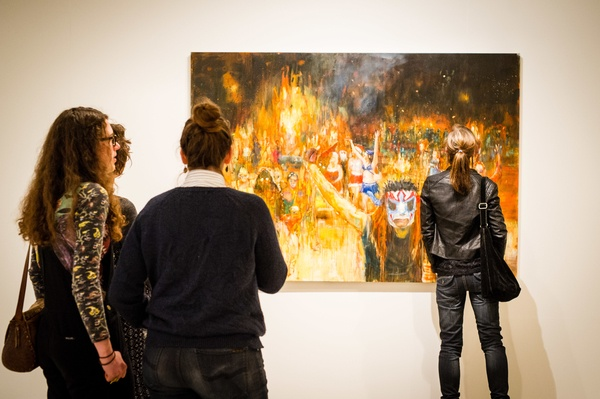 Visitors to the opening: Everything is Beautiful (2015) in the background. Courtesy the artist and Hamish McKay Gallery