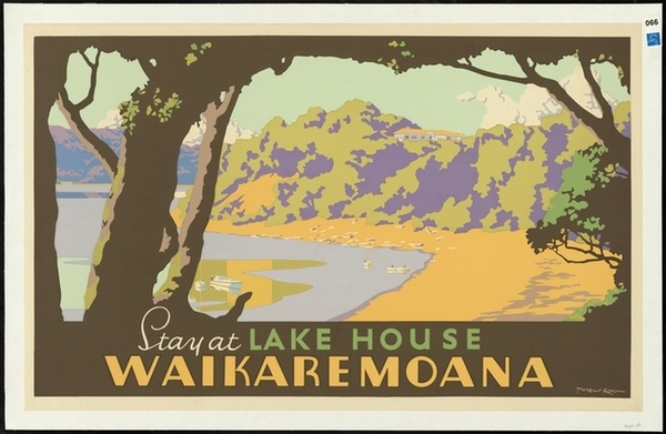 King, Marcus, 1891-1983 :Stay at Lake House, Waikaremoana. Marcus King [1930-1940?] Courtesy of National Library Archives